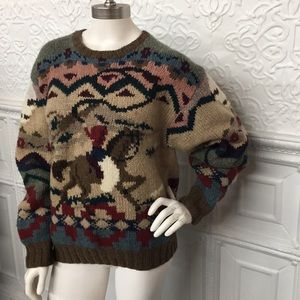 VTG RARE ✨Ralph Lauren Horse Print Hard Knit Wool